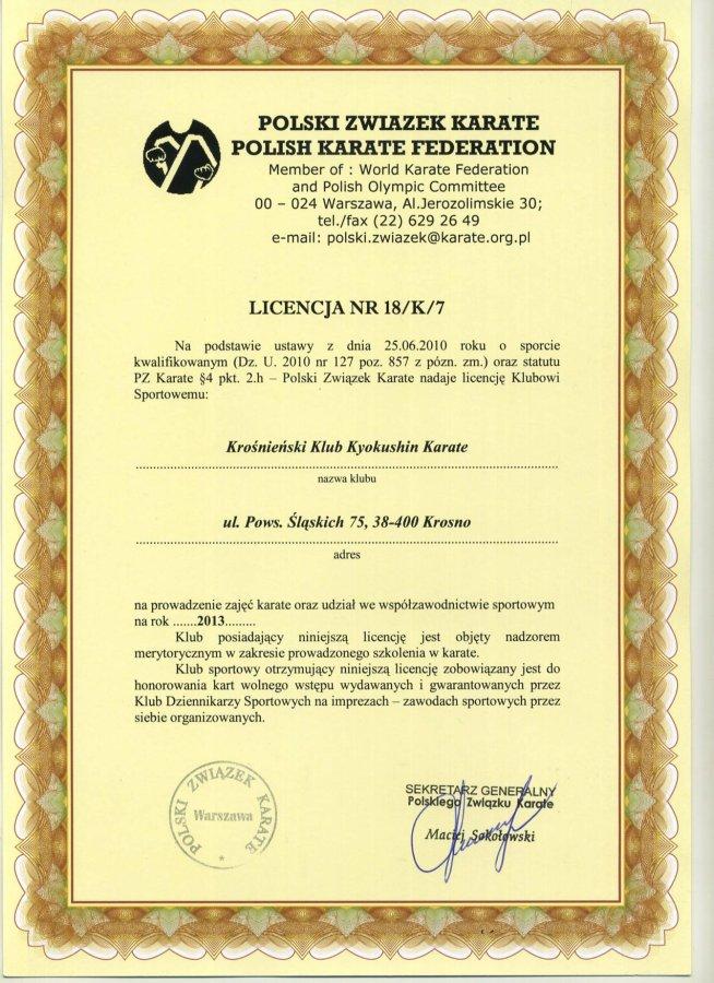 Licencja klubowa PZK
